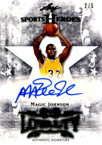 Magic Johnson 2013 Leaf Sports Heroes Autographed Card #2/5