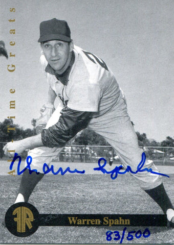 Warren Spahn Autographed Front Row Card #83/500