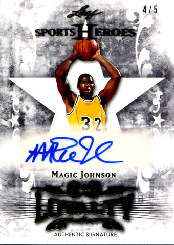 Magic Johnson 2013 Leaf Sports Heroes Autographed Card #4/5