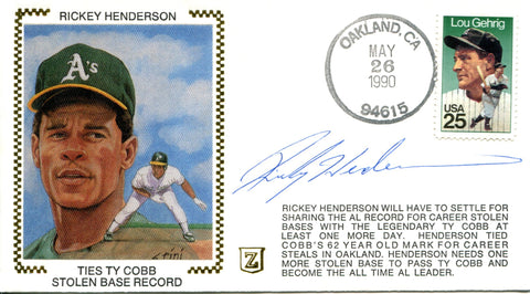 Rickey Henderson Autographed May 26, 1990 First Day Cover (JSA)