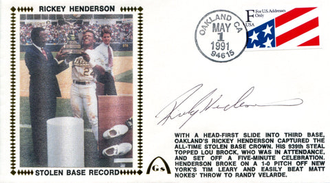 Rickey Henderson Autographed May 1, 1991 First Day Cover (JSA)