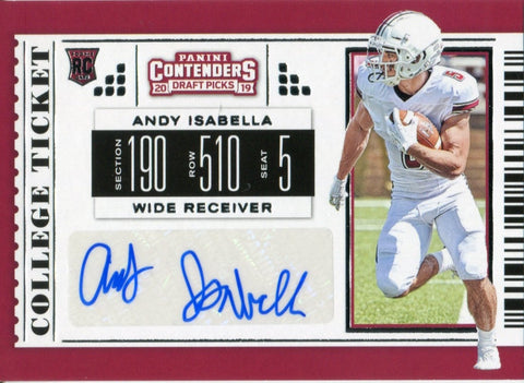 Andy Isabella Autographed 2019 Contenders Draft Picks Rookie Card