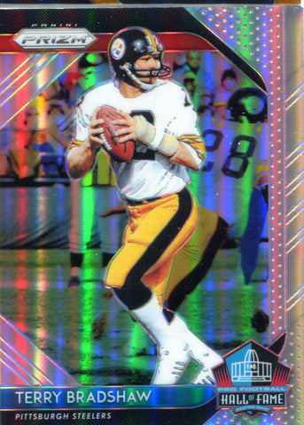 Terry Bradshaw 2018 Panini Prizm Hall of Fame Silver Insert Card