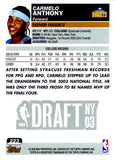 Carmelo Anthony 2003 Topps Unsigned Rookie Card Draft Pick #3