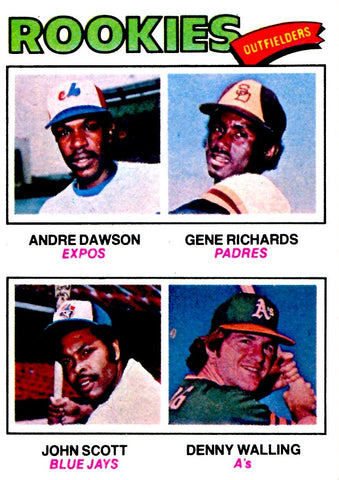 Andre Dawson, Gene Richards, John Scott, & Denny Walling 1977 Rookies Outfielders