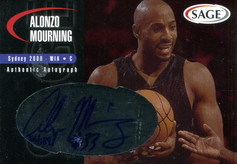 Alonzo Mourning Autographed Sage Card