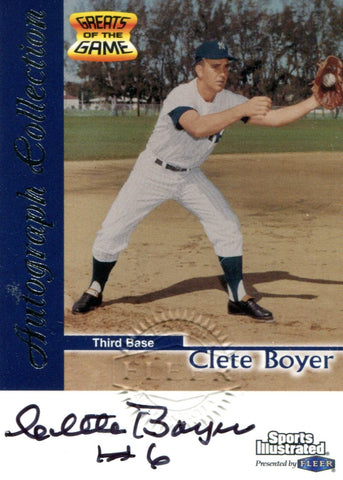 Clete Boyer Autographed Fleer Card