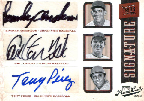 Sparky Anderson/ Carlton Fisk/ Tony Perez Autographed Panini Card #1/5