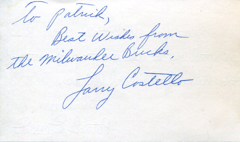 Larry Costello Autographed 3x5 Index Card