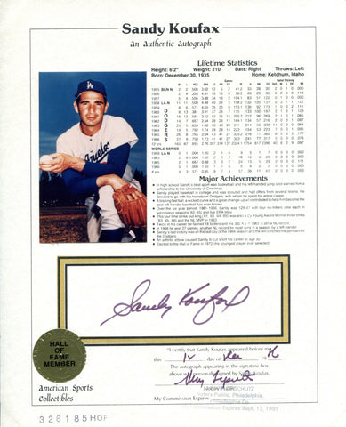 Sandy Koufax Autographed American Sports Collectibles HOF Plaque 8x10 Card