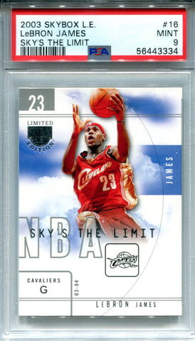 LeBron James 2003-04 Fleer Skybox LE Sky's The Limit Rookie Card (PSA Mint 9)