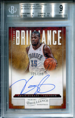 Kevin Durant Autographed 2012-13 Panini Brilliance Marks of Brilliance Card (BVG)