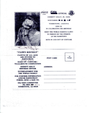 Emmett Kelly Jr. Autographed Clown Roundup Page