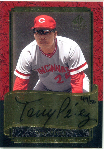 Tony Perez 2003 Upper Deck SP Legendary Cuts Autographed Card #49/50