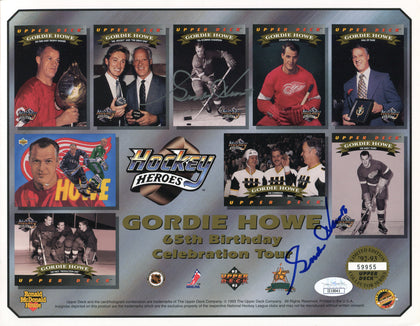 Gordie Howe Dual Autographed 65th Birthday Tour 8x10 Photo (JSA)