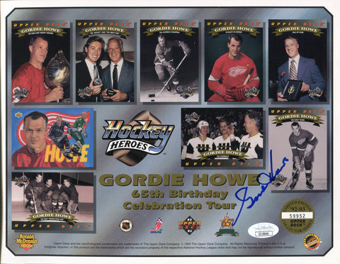 Gordie Howe Autographed Upper Deck 65th Birthday Tour 8x10 Photo (JSA)