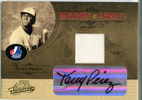 Tony Perez 2005 Donruss Marks of Fame Game-Worn Jersey/Autographed Card #25/50