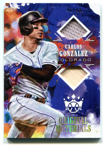 Carlos Gonzalez 2018 Panini Donruss Diamond Kings Jersey Card