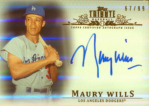 Maury Wills Autographed 2013 Topps Tribute Card