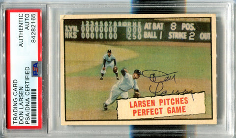 Don Larsen Autographed 1961 Topps Card (PSA)