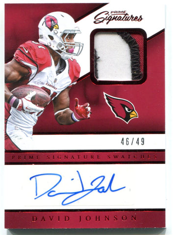 David Johnson Autographed 2016 Panini Prime Jersey Card
