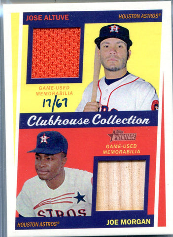 Jose Altuve & Joe Morgan 2016 Topps Heritage Double Relic Card #17/67