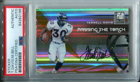 Terrell Davis & Mike Bell Autographed 2007 Donruss Elite Passing the Torch Card (PSA)