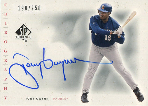Tony Gwynn 2001 Autographed Card Upper Deck 190/250