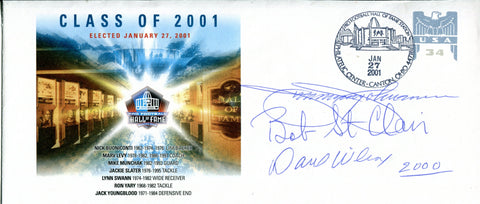 Jimmy Johnson, Bob St. Clair, and Dave Wilcox Autographed Pro Football Hall of Fame Class of 2001 Envelope