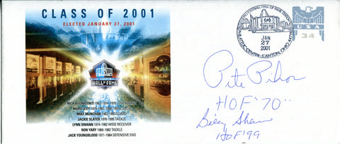 Pete Pihos, and Billy Shaw Autographed Pro Football Hall of Fame Class of 2001 Envelope