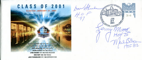 Don Shula, Lenny Moore and Merlin Olsen Autographed Pro Football Hall of Fame Class of 2001 Envelope