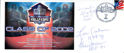 Frank Gatski, Lou Creekman, and Stan Jones Autographed Pro Football Hall of Fame Class of 2002 Envelope