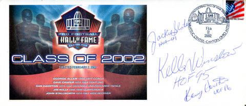 Jackie Slater, Kellen Winslow, and Kenny Houston Autographed Pro Football Hall of Fame Class of 2002 Envelope