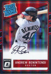 Andrew Benintendi Autographed 2017 Donruss Optic Rookie Card