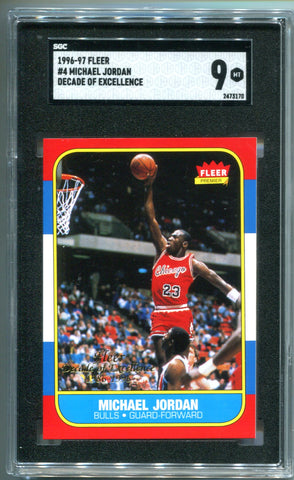 Michael Jordan 1996-97 Fleer #4 Decade Of Excellence Card (SGC 9)