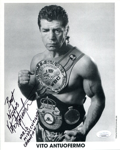 "Vito Antuofermo ""World Middleweight Champion"" Autographed 8x10 Photo (JSA)"
