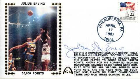 Julius Erving Autographed First Day Cover (JSA)
