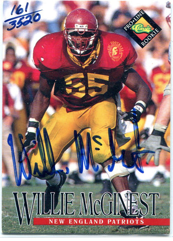 Willie McGinest 1994 Classic Pro-Line Autographed Card #161/3520