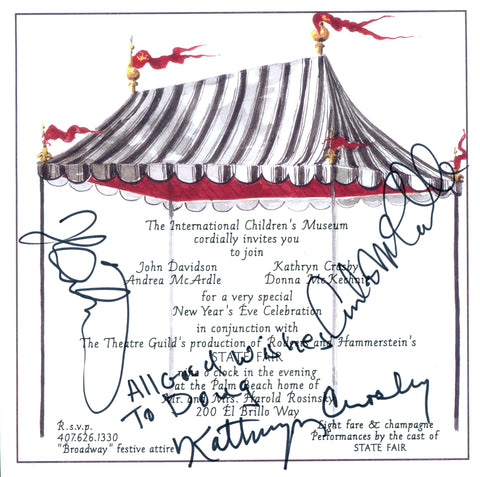 John Davidson, Andrea McArdle & Kathryn Cosby Autographed Invitation