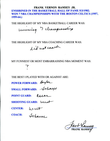 Frank Ramsey Autographed Hand Filled Out Survey Page (JSA)