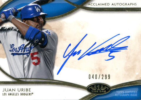 Juan Uribe  Autographed Topps Card #40/299