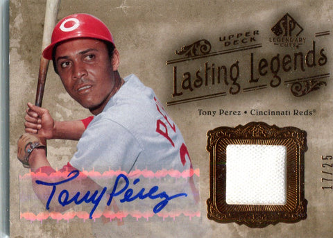 Tony Perez 2005 Upper Deck Lasting Legends Game-Worn Jersey/Autographed Card