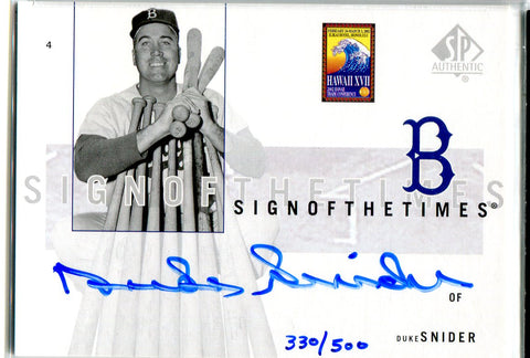 Duke Snider 2002 Upper Deck Autographed Card #330/500