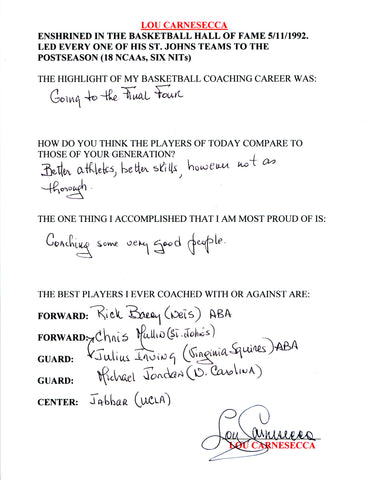 Lou Carnesecca Autographed Hand Filled Out Survey Page (JSA)
