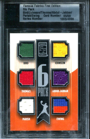 Bird, Johnson,Thomas, Abdul-Jabbar, Parish, & Ewing Six Pack Famous Fabrics #5/9