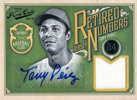 Tony Perez Autographed 2012 Panini Playoff Prime Cuts Jersey Card