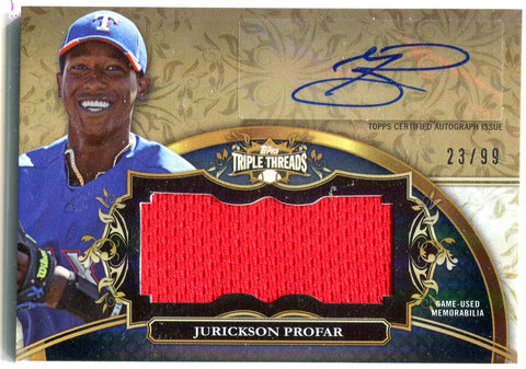 Jurickson Profar 2013 Topps Triple Threads Game-Used Jersey/Autographed Card #23/99