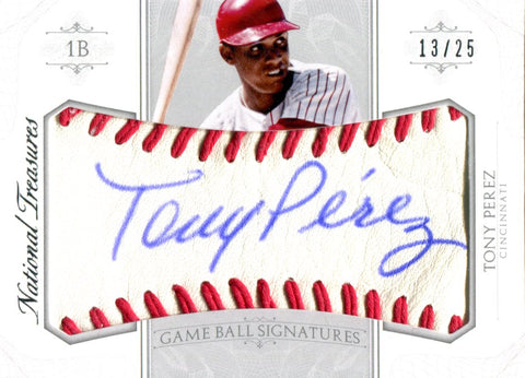 Tony Perez Autographed 2015 Panini National Treasures Game Ball Card