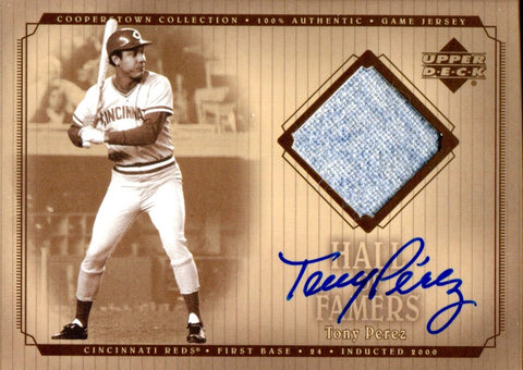 Tony Perez Autographed 2001 Upper Deck Hall of Famers Jersey Card