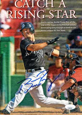 Buster Posey Autographed Catch A Rising Star Magazine Page (JSA)